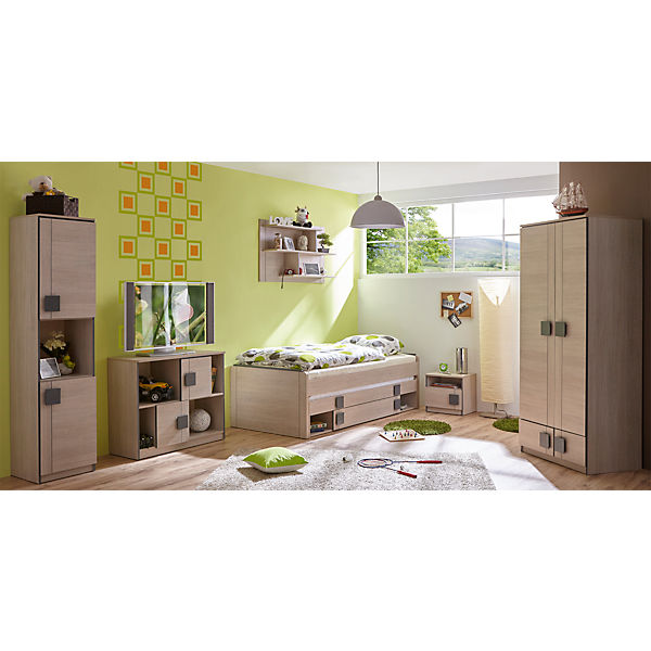 komplett jugendzimmer camo 6 tlg einzelbett kleiderschrank standregal kommode nachttisch. Black Bedroom Furniture Sets. Home Design Ideas