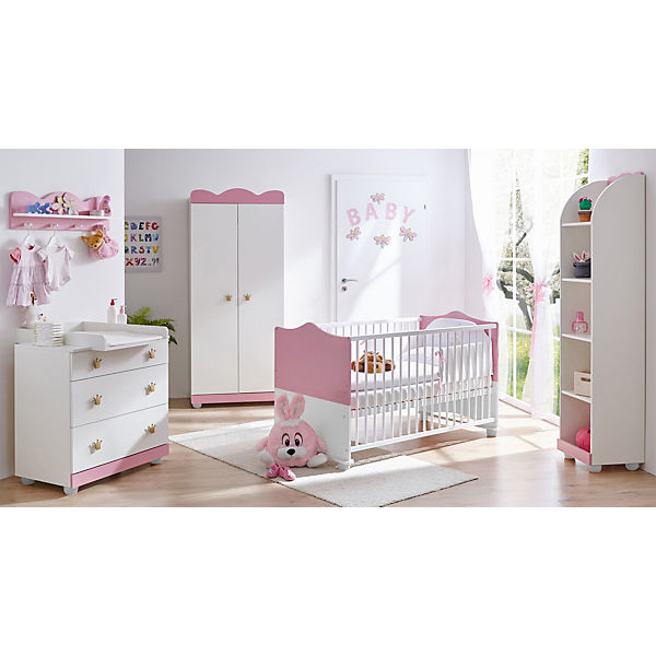 babyzimmer prinzessin 5 tlg kinderbett wickelkommode wandregal standregal lattenrost. Black Bedroom Furniture Sets. Home Design Ideas