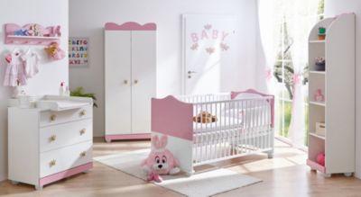Babyzimmer Prinzessin, 5 Tlg. (Kinderbett, Wickelkommode, Wandregal,  Standregal, ...