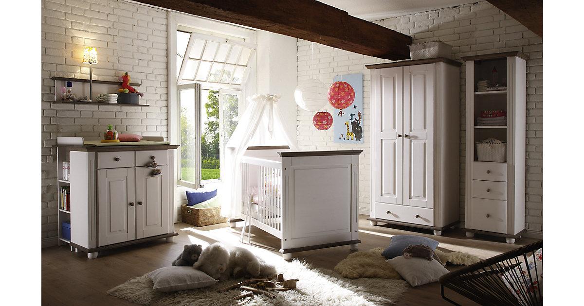 TICAA · Babyzimmer Laura I, 5-tlg. (Kleiderschrank 2-trg., Kinderbett, Wickelkommode, Standregal, Anbauregal), Lava weiß Gr. 70 x 140