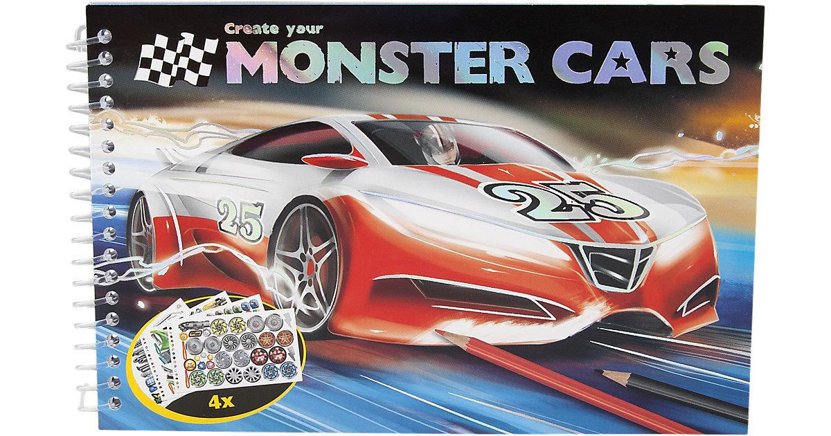 Pocket-Malbuch Monster Cars, inkl. Sticker, sor...