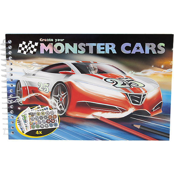 Pocket-Malbuch Monster Cars, inkl. Sticker, sortiert