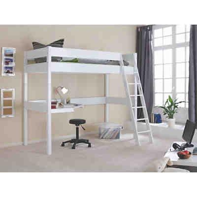 hochbett renate 90x200 inkl rollrost buche geleimt wei lackiert relita mytoys. Black Bedroom Furniture Sets. Home Design Ideas