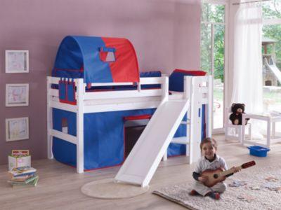 Puppen Etagenbett Mit Rutsche : Spielbett eliyas mit rutsche buche massiv weiß lackiert 90 x 200