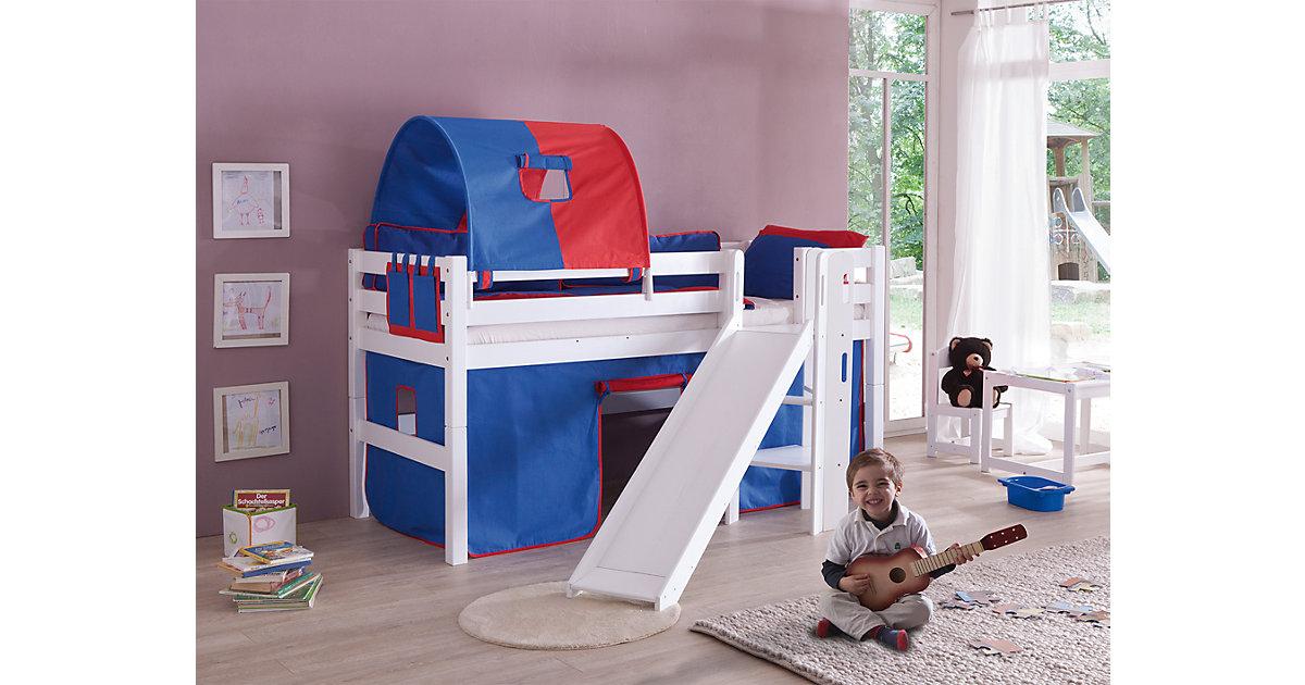 Spielbett ELIYAS mit Rutsche, Buche massiv, weiß lackiert, 90 x 200 cm