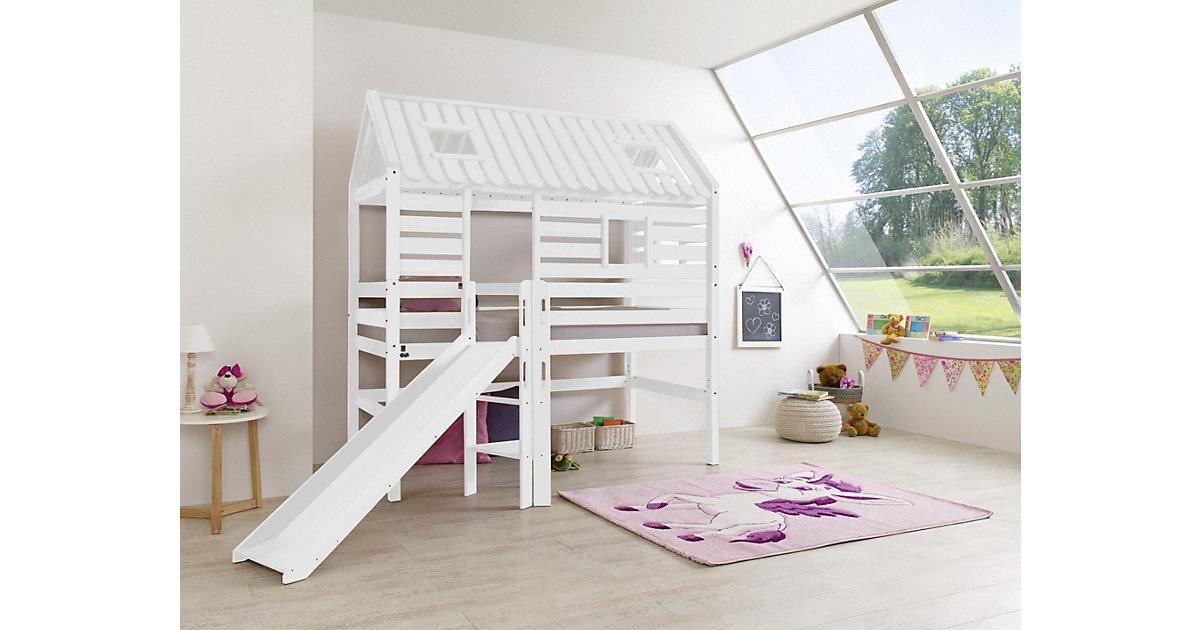 Spielbett Holzhütte Tom, Kernbuche massiv, weiß, 90 x 200 cm