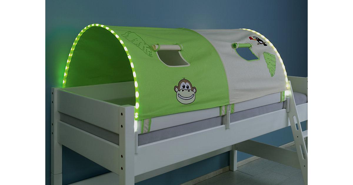 Image of Tunnel inkl. LED-Beleuchtung zu Hoch- & Etagenbetten, 150 cm, Dschungel grün