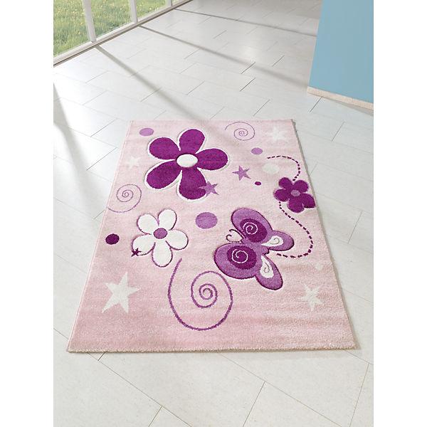 Kinderteppich Schmetterlinge rosa 170 x 120 cm Relita