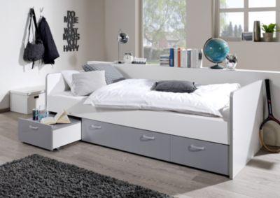 Sofabett für jugendzimmer  Sofabett mit Schubkästen Marlies, Kiefer massiv weiß, 90 x 200 cm ...