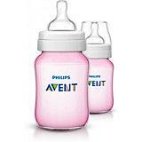 Бутылочка для кормления 260мл., 2шт, Avent, розовый