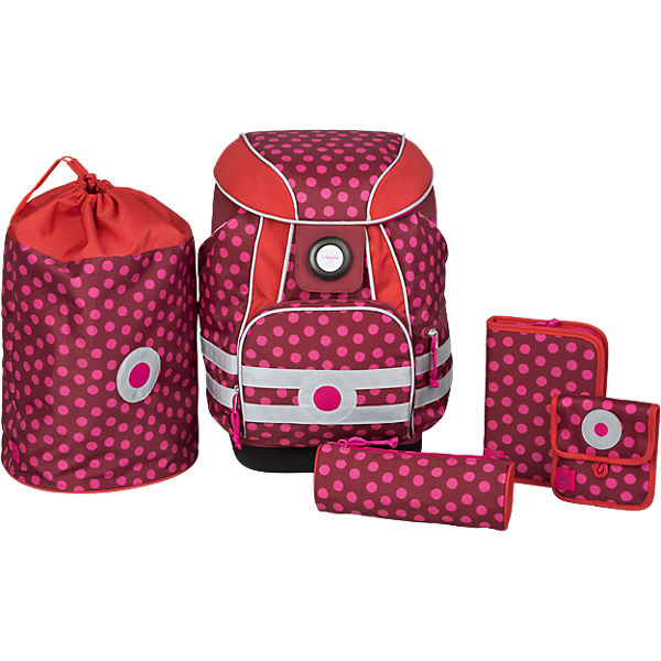 Schulranzen-Set 5-tlg. 4Kids, School Set, Dottie red