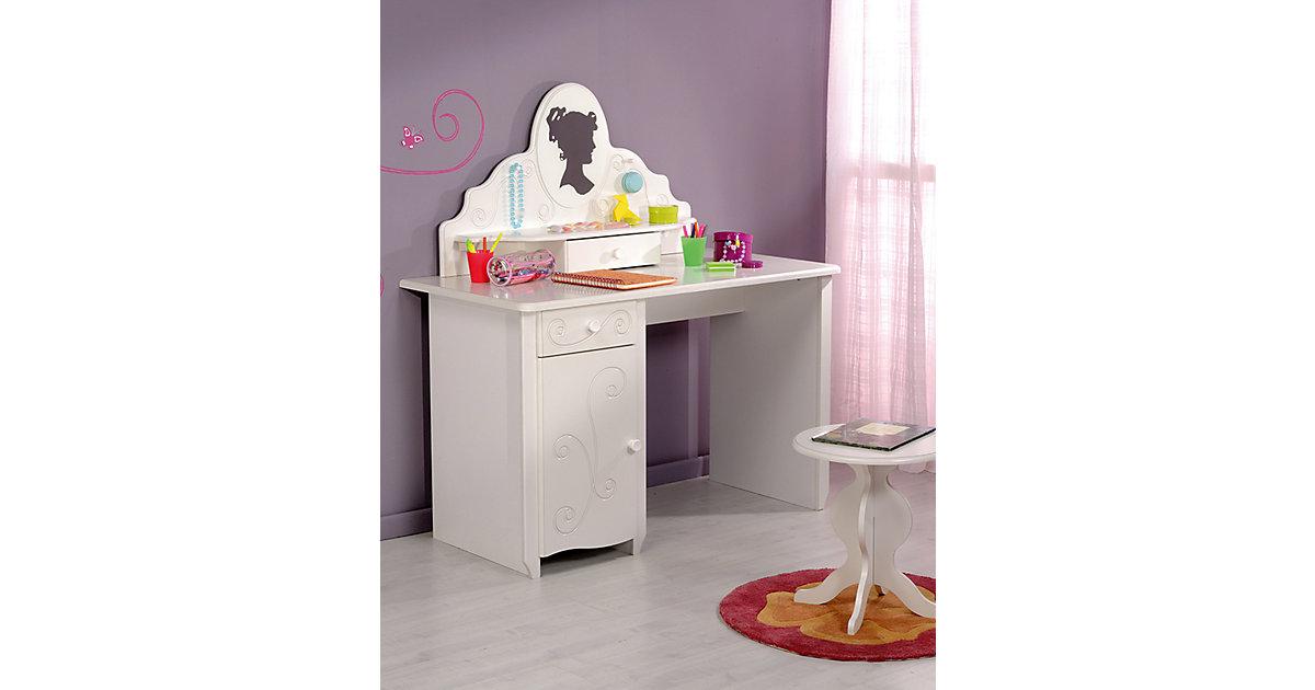 Schreibtisch Alice mit Aufsatz und Hocker, MDF weiß