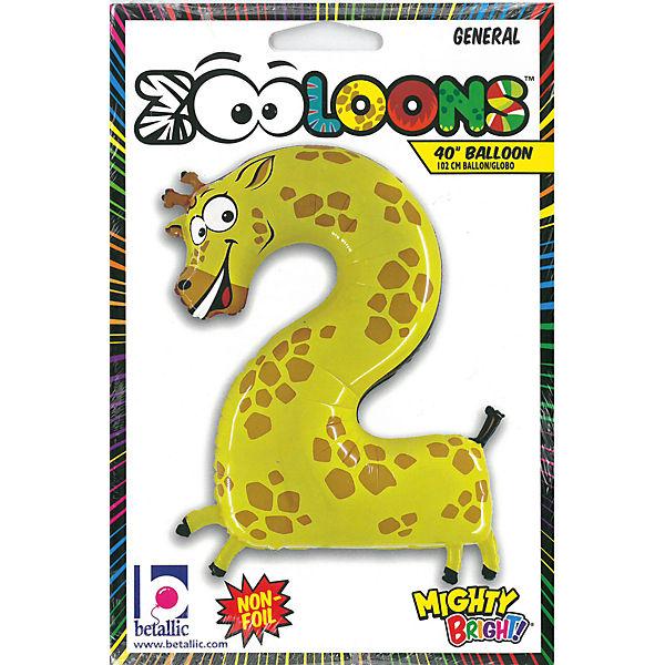 Ballon Karaloon Zahl 2 Giraffe, Karaloon Ballon 5aae81