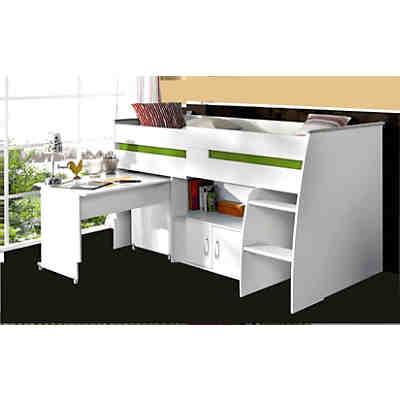hochbett tanja buche wei 140 x 200 cm ticaa mytoys. Black Bedroom Furniture Sets. Home Design Ideas