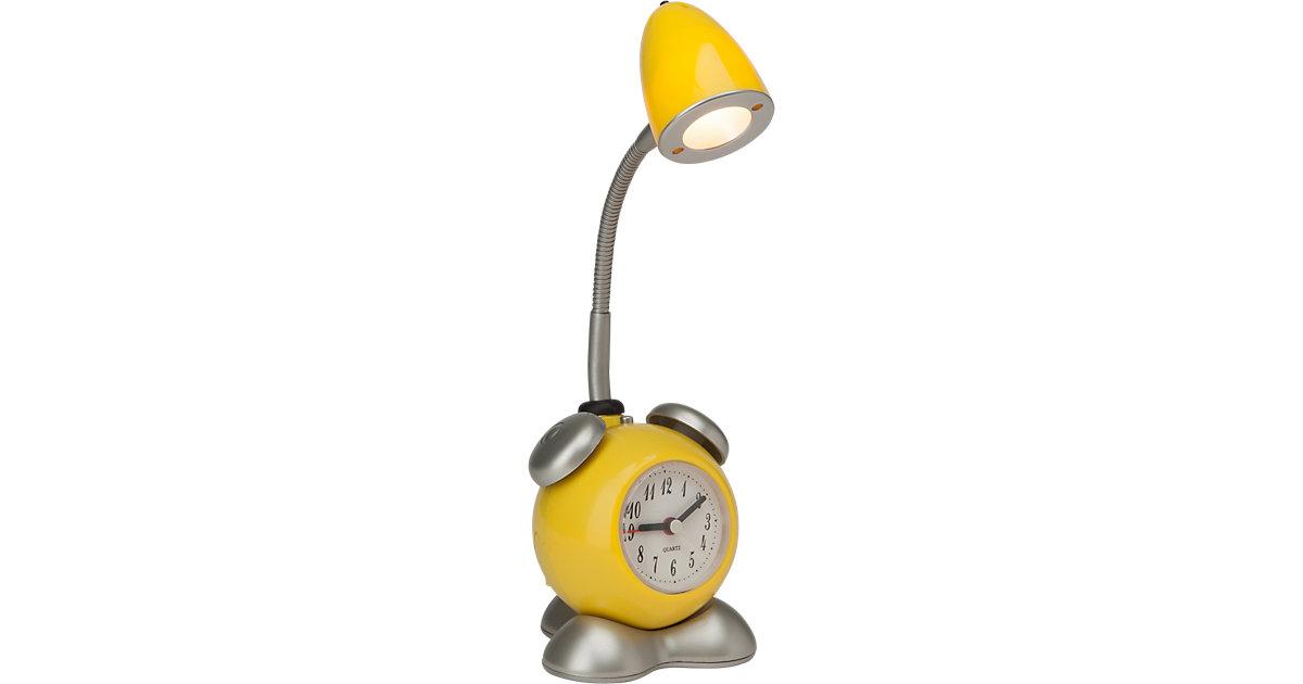 LED Tischlampe Pharrell mit Uhr, gelb