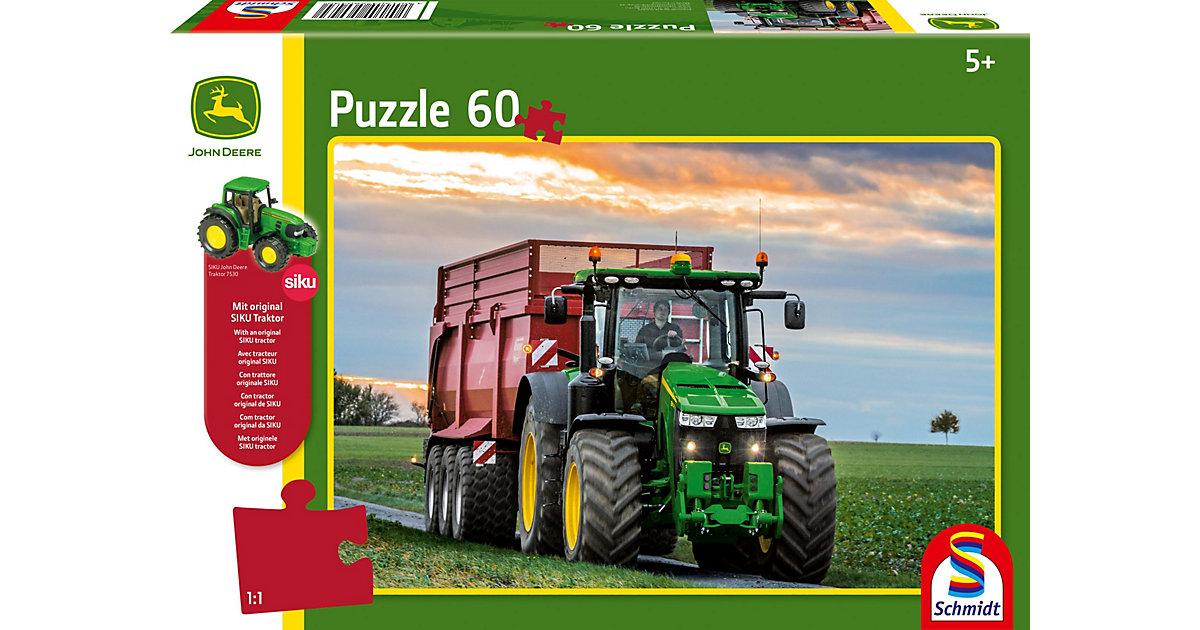 Puzzle John Deere 8370R Traktor 60 Teile, inkl. Original SIKU Traktor