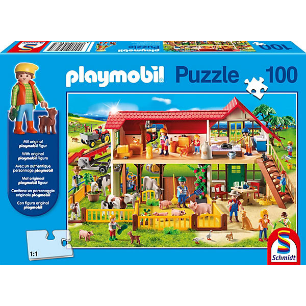 Puzzle Playmobil (inkl. Figur), Bauernhof, 100 Teile, PLAYMOBIL®