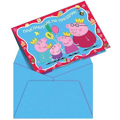 """Приглашение в конверте  """"Пеппа-принцесса"""" 6 шт от Росмэн"""