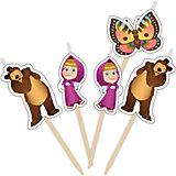 """Набор свечей на палочках """"Маша и Медведь"""" 5 шт"""