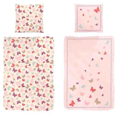 Wende Kinderbettwäsche Schmetterlinge Renforcé 135 X 200 Cm Mytoys