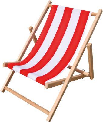 Kinderliegestuhl rot/weiß gestreift