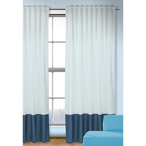 Vorhang Uni, weiß-blau, 245x135, (1 Schal) Gr. 245 x 135 Sale Angebote Werben