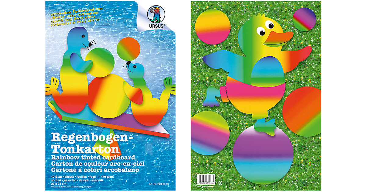 Regenbogen-Tonkarton 23 x 33 cm, 10 Blatt, beidseitig bedruckt