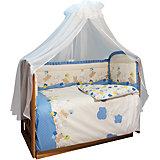 Комплект в кроватку 7 предметов Soni kids, В уютных облачках, голубой