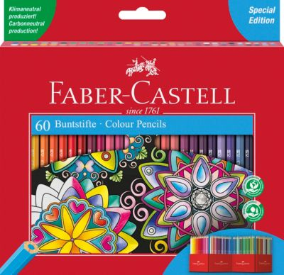 48 Buntstifte mit Spitzer gratis Farbstifte Faber-Castell Schulbedarf Malen