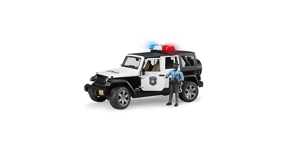 Bruder Jeep Wrangler Unlimited Rubicon mit Polizist (dunkler Hauttyp) 1:16