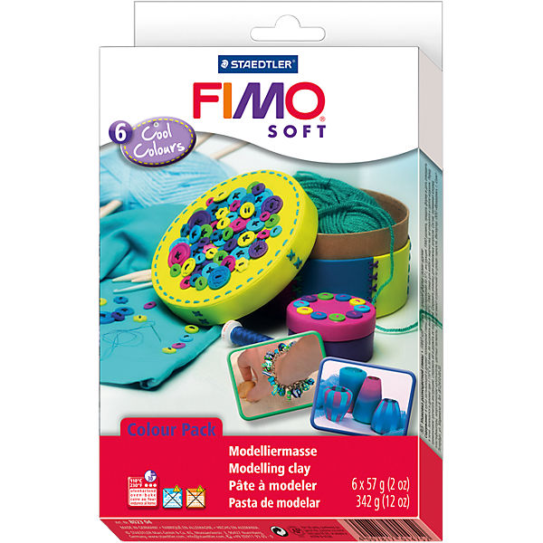 FIMO soft Materialpackung Cool Colours, 6 x 57 g