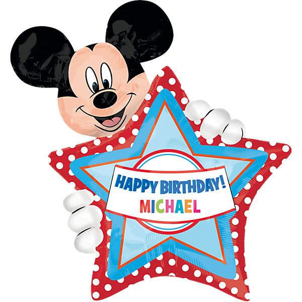 Folienballon Xl Happy Birthday Mickey Mouse Personalisierbar