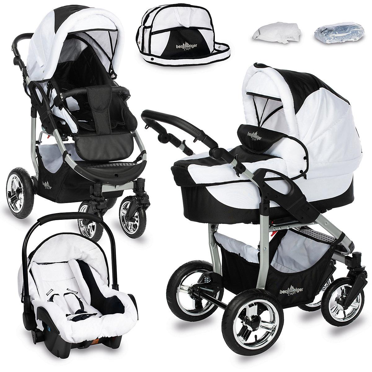 kombi kinderwagen capri 10 tlg black white bergsteiger mytoys. Black Bedroom Furniture Sets. Home Design Ideas