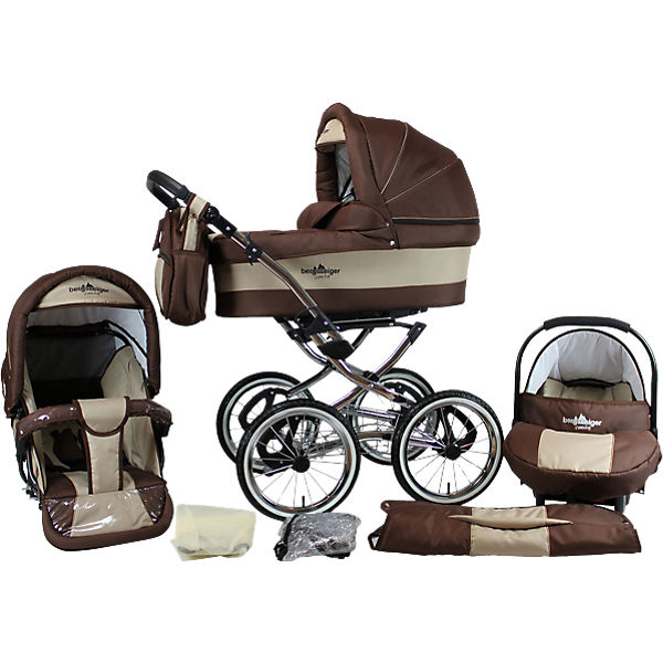 Kombi Kinderwagen Venedig Nostalgie, 10 tlg., coffee & brown