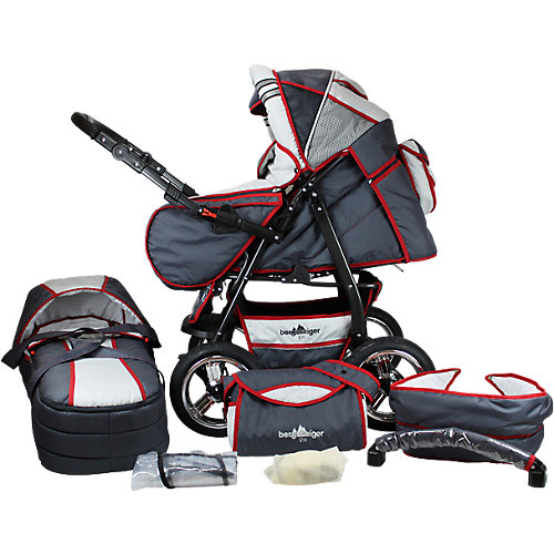 Bergsteiger Kombi Kinderwagen Rio, 10 tlg., grey & red stripes Sale Angebote