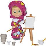 """Мини-кукла Simba """"Маша и Медведь"""" Маша в одежде художницы с набором для рисования, 12 см"""