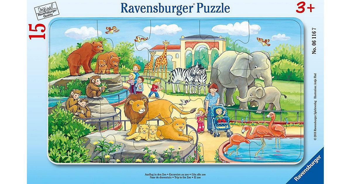 Rahmen-Puzzle, 15 Teile, 25x14,5 cm, Ausflug in den Zoo