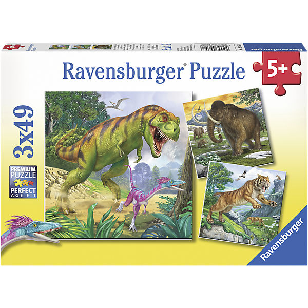 Puzzle Herrscher der Urzeit 3 x 49 Teile, Ravensburger