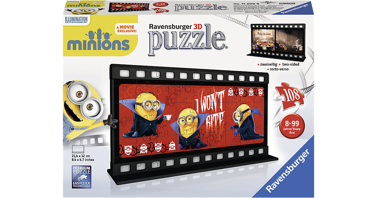 3D Filmstreifen Puzzle Minion Gone Batty 108 Teile