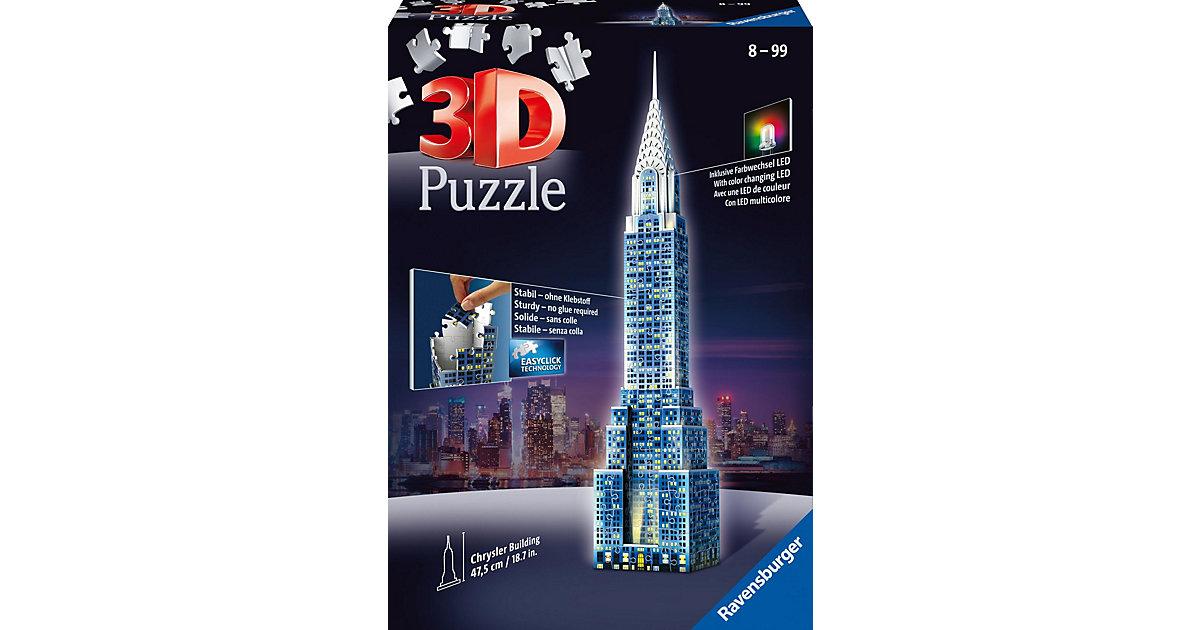 3D Puzzle-Bauwerke Chrysler Building bei Nacht ...