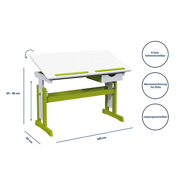 kinderschreibtisch pijii h henverstellbar wei gr n mytoys. Black Bedroom Furniture Sets. Home Design Ideas