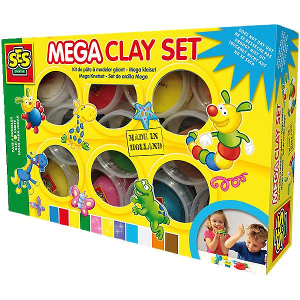SES Creative 00459 Mega-Knetset Superclay, 11 x 90 g, SES Creative