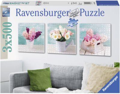 Puzzleset Bunter Blumengruß 3 x 500 Teile