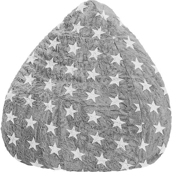 Sitzsack BeanBag FLUFFY STARS L, 70 x 90 cm, grau, Sitting Point ...