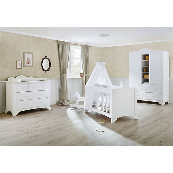 komplett kinderzimmer pino kinderbett wickelkommode und kleiderschrank 2 trg kiefer wei. Black Bedroom Furniture Sets. Home Design Ideas