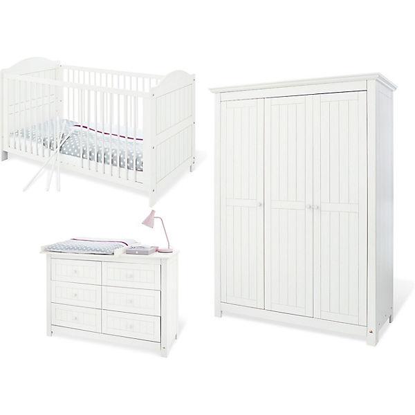 Komplett Kinderzimmer NINA Groß/extrabreit, 3 Tlg., Fichte Weiß. Pinolino
