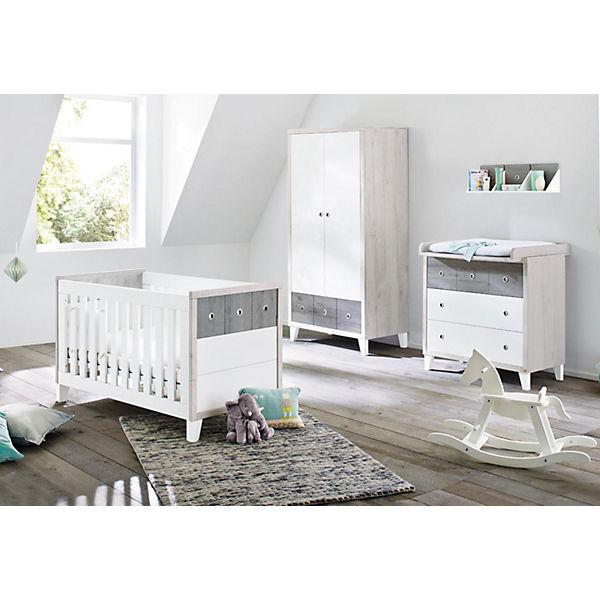 Babyzimmer komplett grau  Komplett Kinderzimmer HARPER, (Kinderbett, Wickelkommode und ...