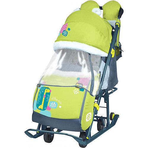 Санки-коляска Ника детям 7-2, коллаж с жирафом, лимонный от Nika-Kids