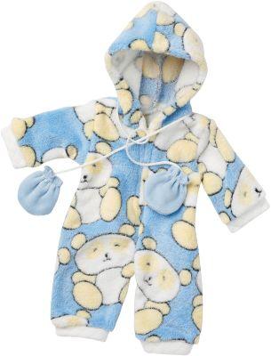 Puppenkleidung Flauschanzug Panda, Gr. 43
