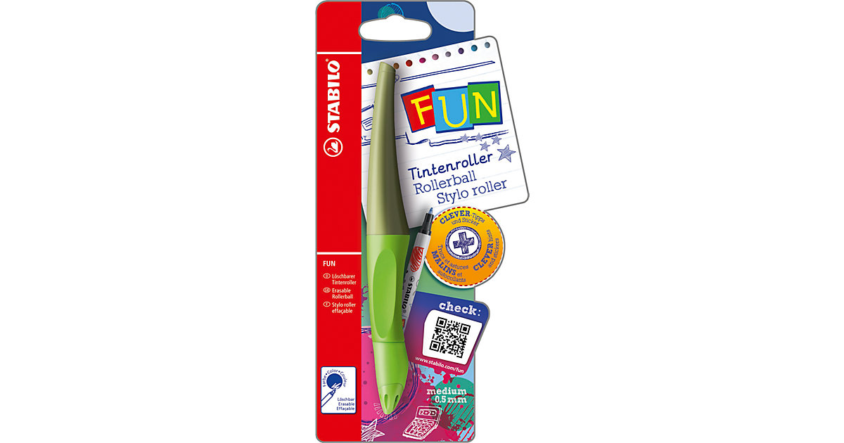 Tintenroller FUN limettengrün/khaki mit Sticker